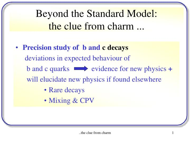 beyond the standard model the clue from charm n.