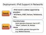 deployment ipv6 support in networks