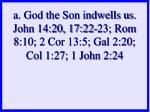a god the son indwells us john 14 20 17 22 23 rom 8 10 2 cor 13 5 gal 2 20 col 1 27 1 john 2 24