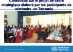 consensus sur le projet de cadre strat gique labor par les participants de s minaire en tanzanie