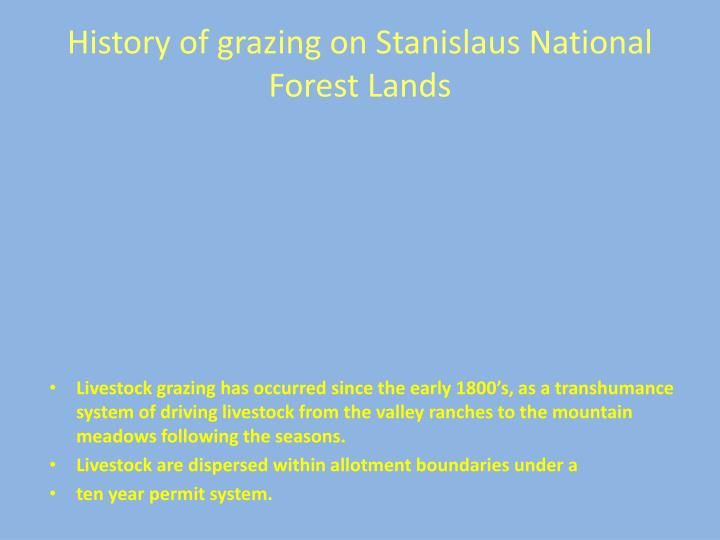 History of grazing on Stanislaus National Forest Lands