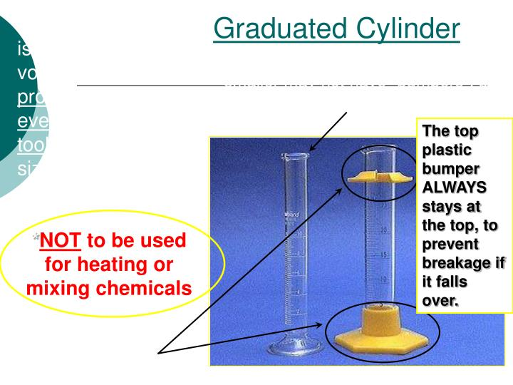 A graduated cylinder is used to measure volumes of liquids;