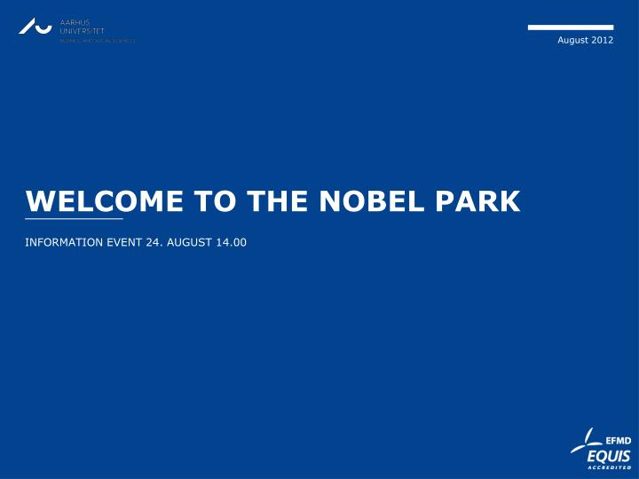 welcome to the nobel park n.