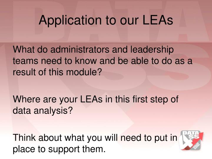 Application to our LEAs