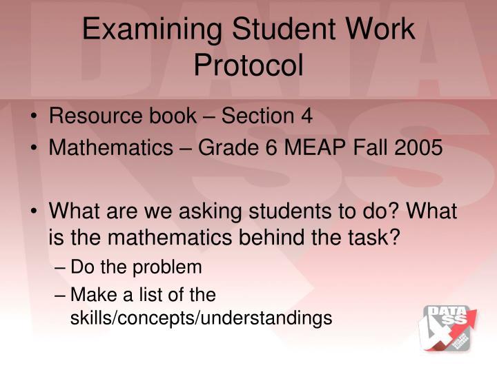 Examining Student Work Protocol