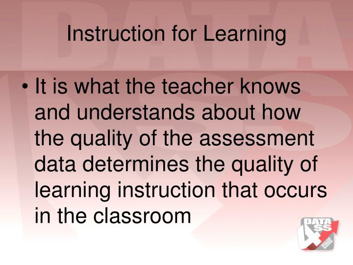 Instruction for Learning