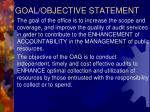 goal objective statement