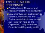 types of audits performed
