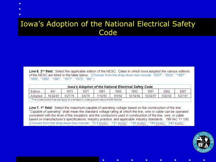 Iowa's Adoption of the National Electrical Safety Code