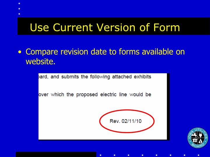 Use Current Version of Form