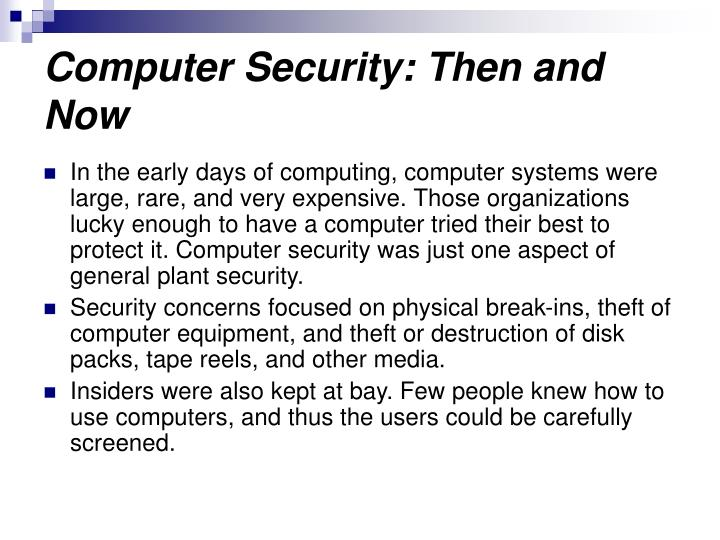 Computer Security: Then and Now