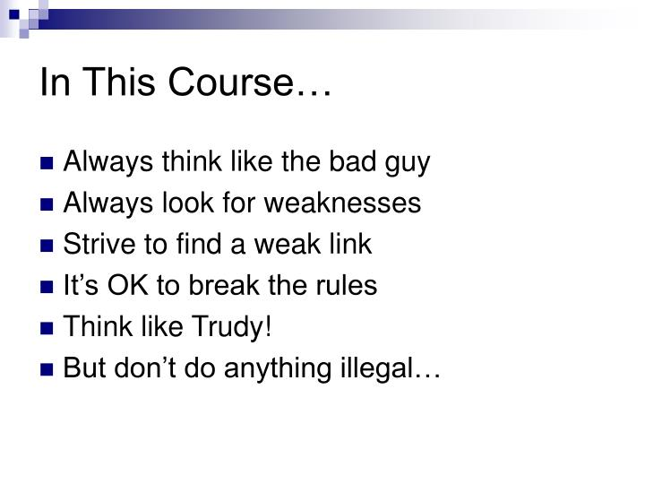 In This Course…