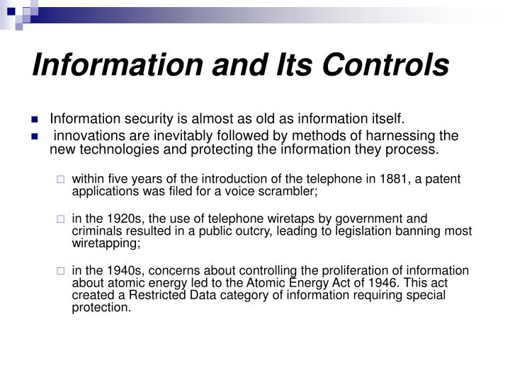 Information and Its Controls