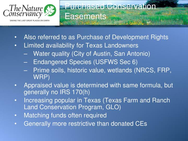 Purchased Conservation Easements