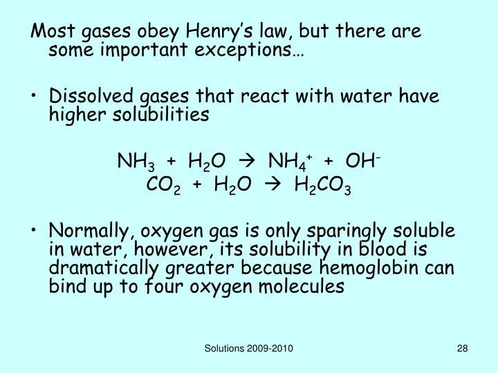 Most gases obey Henry's law, but there are some important exceptions…