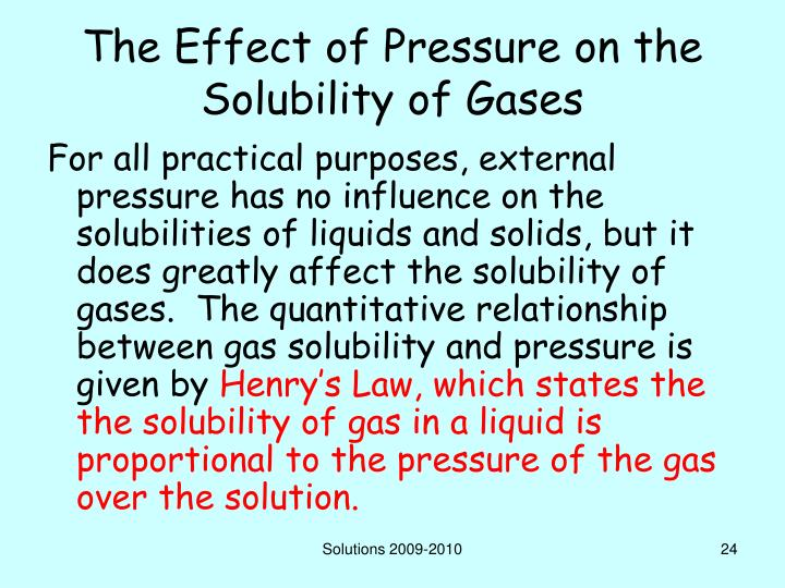 The Effect of Pressure on the Solubility of Gases