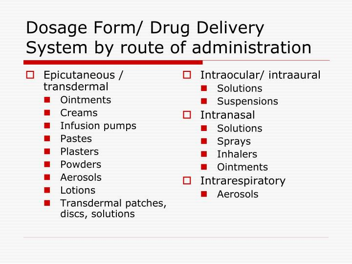 Dosage form drug delivery system by route of administration1