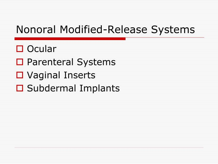 Nonoral Modified-Release Systems