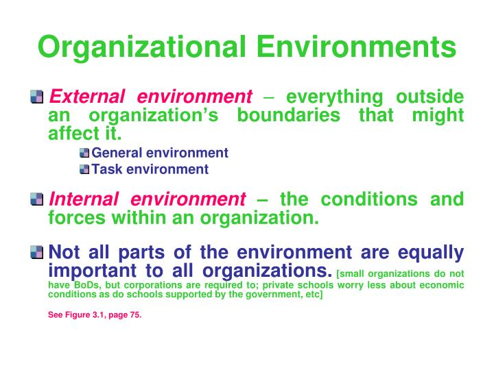 organizations have both an internal and an external environment describe the general environment and An organization's internal environment is composed of the elements within the organization, including current employees, management, and especially corporate culture, which defines employee behavior although some elements affect the organization as a whole, others affect only the manager.