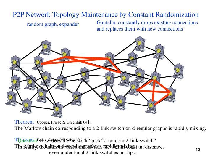 P2P Network Topology Maintenance by Constant Randomization