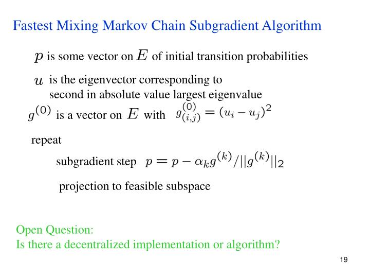 Fastest Mixing Markov Chain Subgradient Algorithm