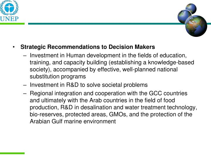 Strategic Recommendations to Decision Makers