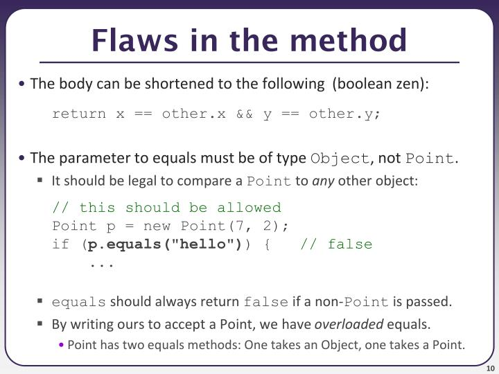 Flaws in the method