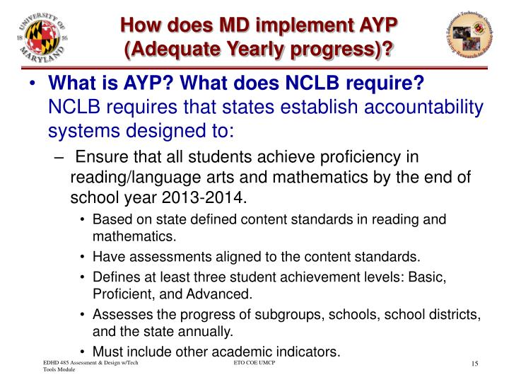 How does MD implement AYP (Adequate Yearly progress)?