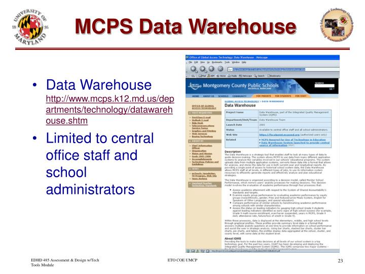 MCPS Data Warehouse