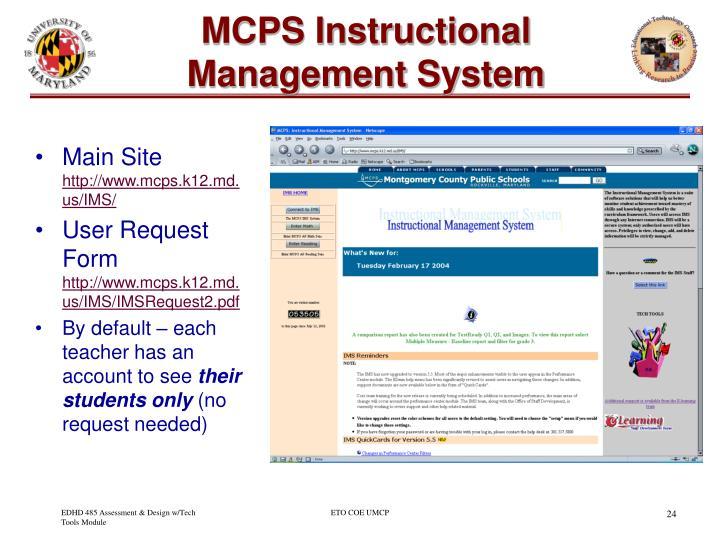 MCPS Instructional Management System