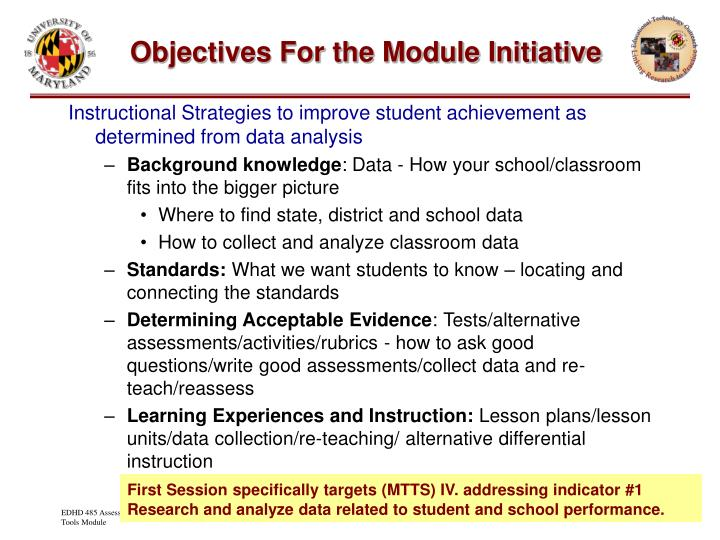 Objectives for the module initiative