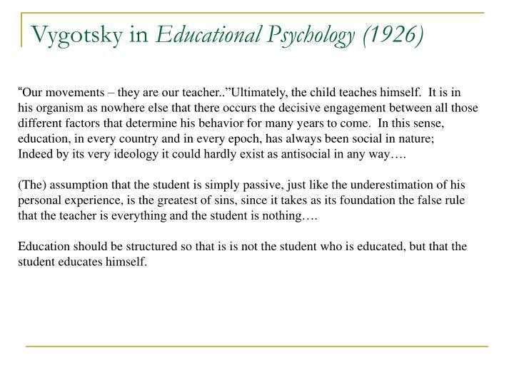 Vygotsky in educational psychology 1926