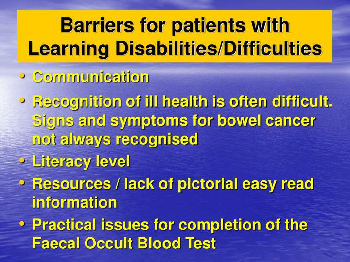 Barriers for patients with Learning Disabilities/Difficulties