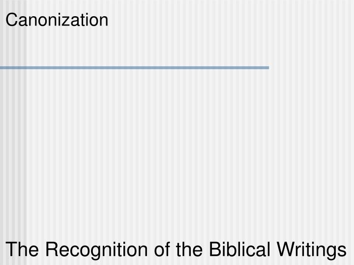the recognition of the biblical writings n.