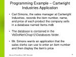 programming example cartwright industries application
