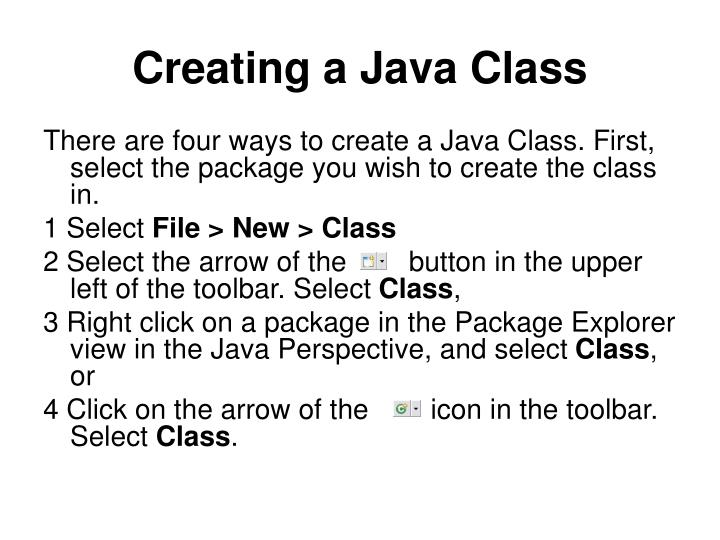 Creating a Java Class