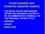 flood hazards aka potential disaster agents