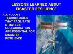 lessons learned about disaster resilience1