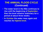 the annual flood cycle continued