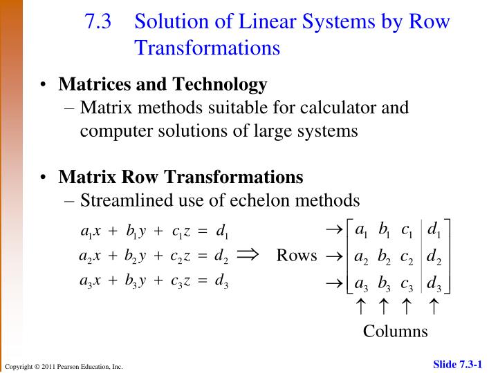 7 3 solution of linear systems by row transformations n.