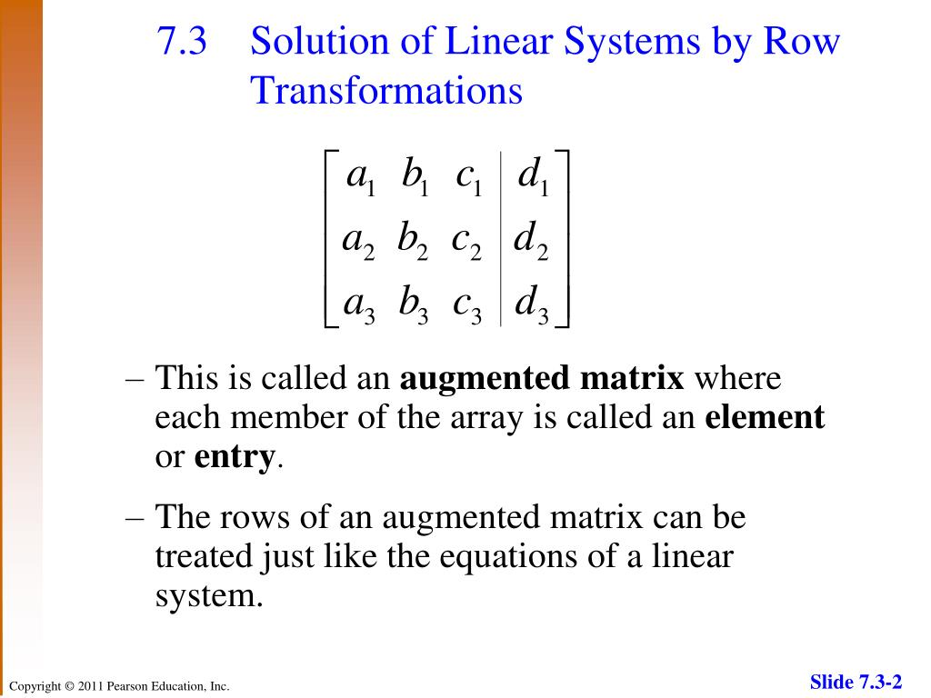 PPT - 7.3 Solution of Linear Systems by Row Transformations PowerPoint Presentation - ID:1804555