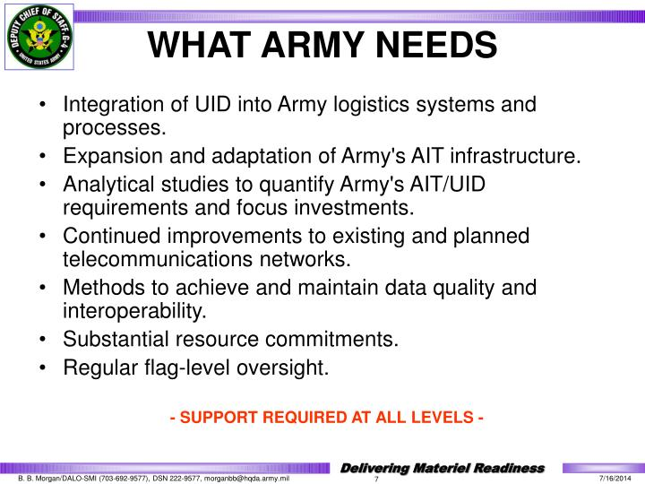 Integration of UID into Army logistics systems and processes.