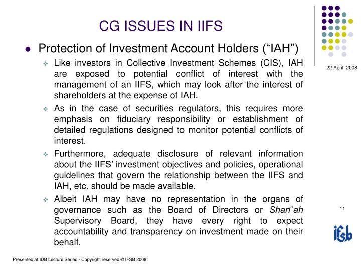 CG ISSUES IN IIFS