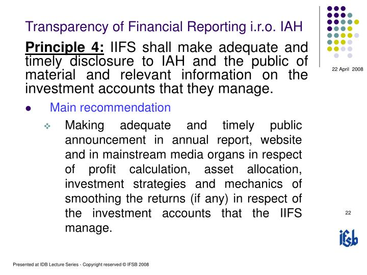 Transparency of Financial Reporting i.r.o. IAH