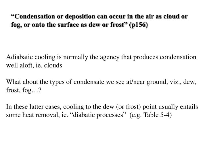 """""""Condensation or deposition can occur in the air as cloud or fog, or onto the surface as dew or frost"""" (p156)"""