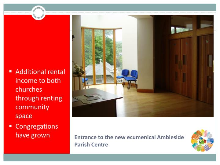 Additional rental income to both churches through renting community space