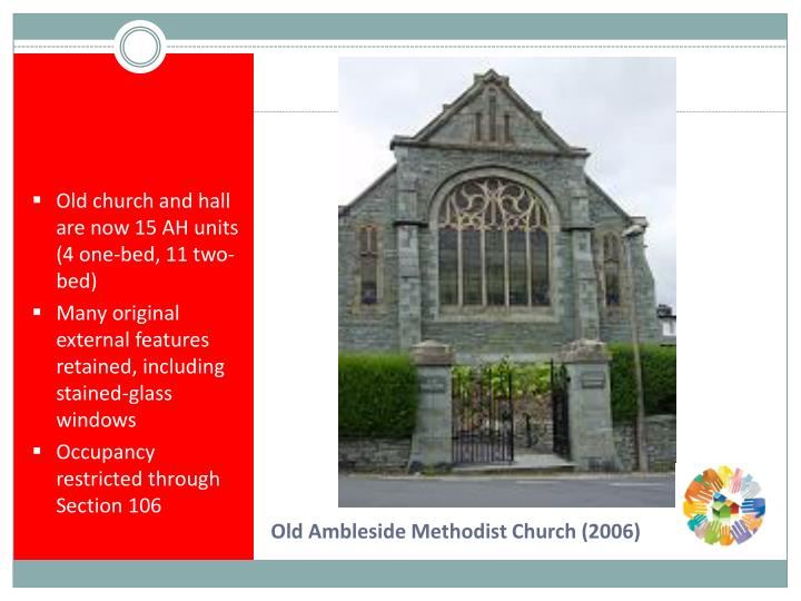 Old church and hall are now 15 AH units (4 one-bed, 11 two-bed)