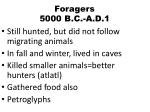 foragers 5000 b c a d 1