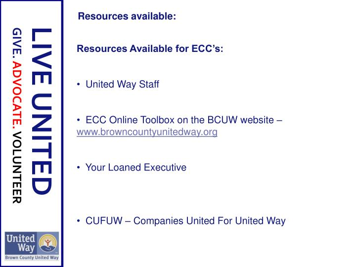 Resources Available For ECCu0027s: