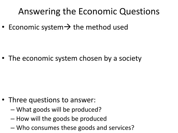 answering the economic questions n.